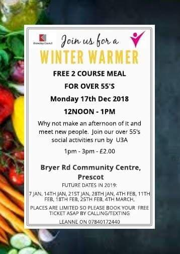 Winter Warmer - Free 2 course meal for over 55's