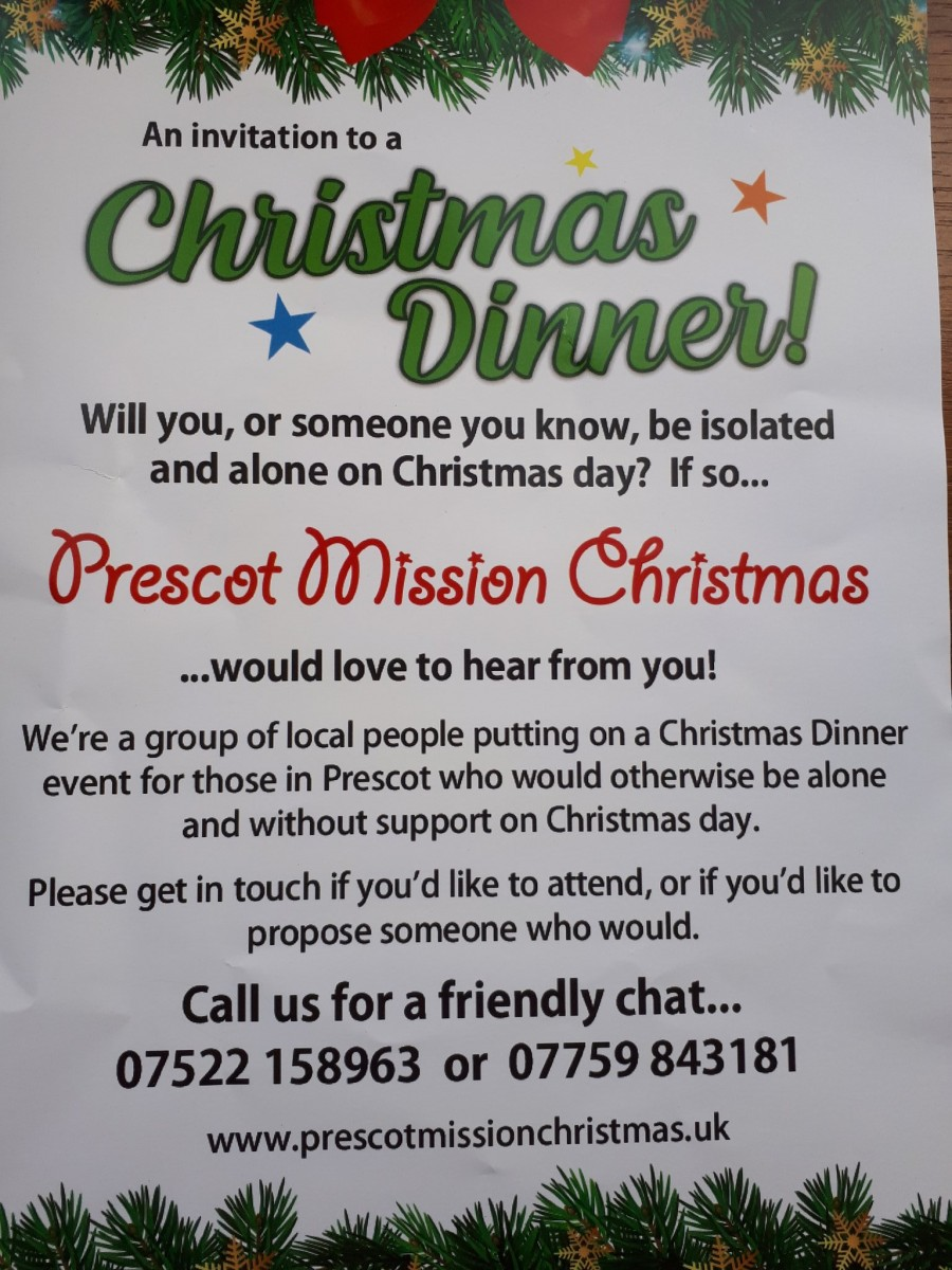 Prescot Christmas Mission - Christmas Dinner - Booking essential